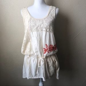 Anthropologie Ric Rac Cinched Waist Tunic L Ivory